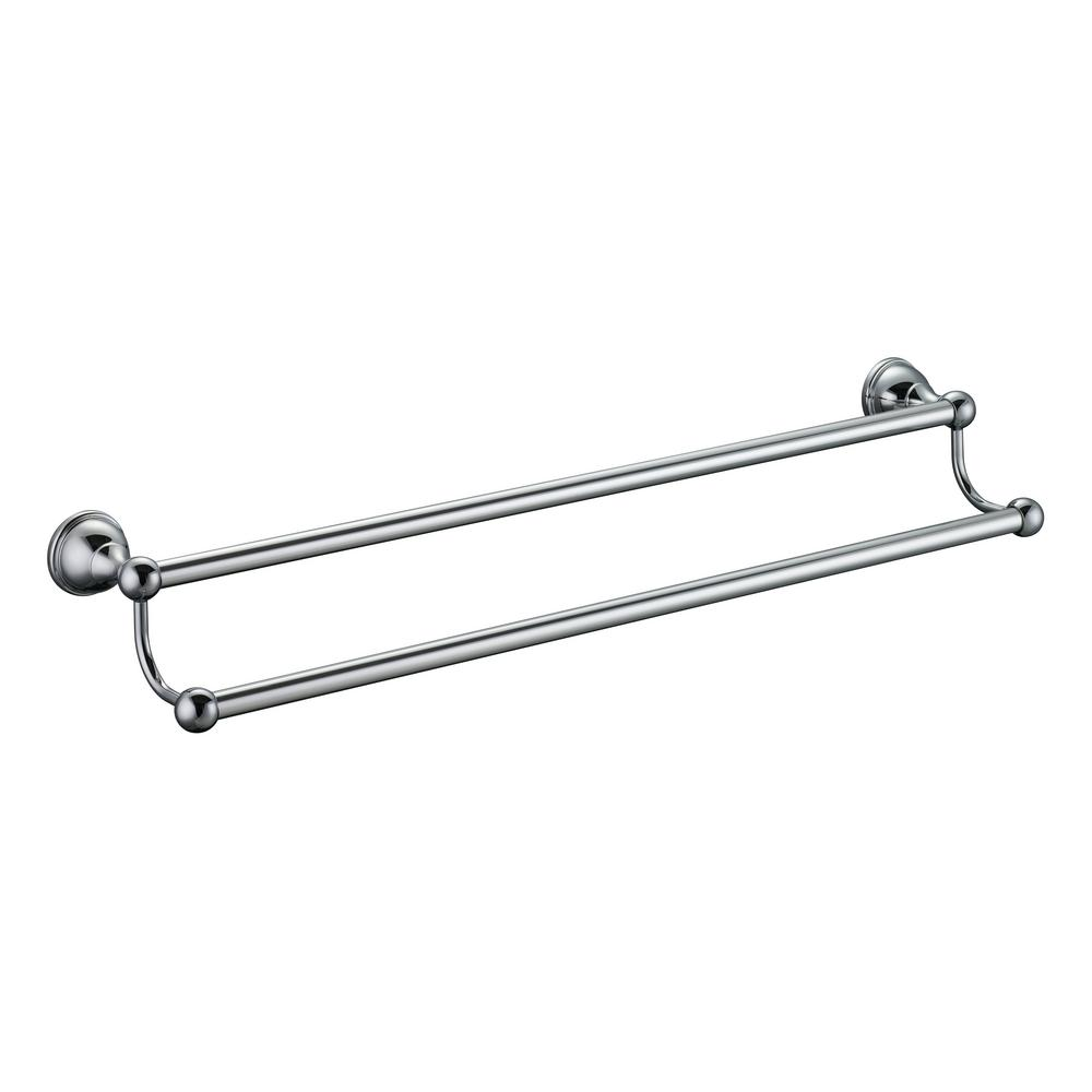glacier bay mandouri series 24 in double towel bar in chrome 262a 1301 the home depot. Black Bedroom Furniture Sets. Home Design Ideas
