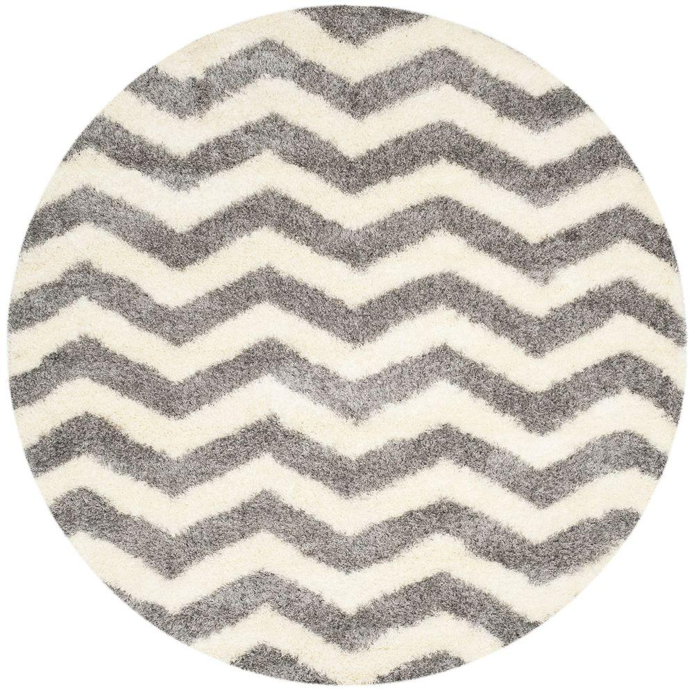 Montreal Shag Ivory/Grey 7 ft. x 7 ft. Round Area Rug