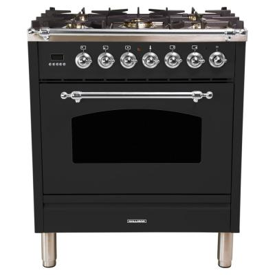 30 in. 3.0 cu. ft. Single Oven Italian Gas Range with True Convection, 5 Burners, LP Gas, Chrome Trim in Matte Graphite