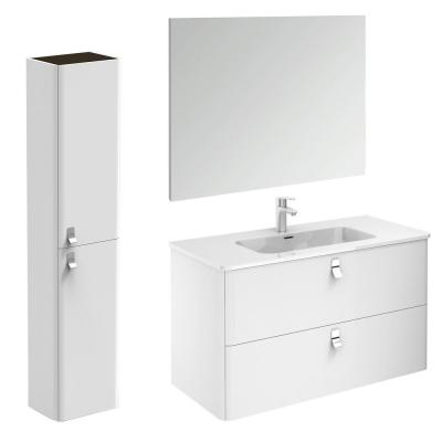 Concert 39 in. W x 20 in. D x 23 in. H Complete Bathroom Vanity Unit in Gloss White with Mirror and Column