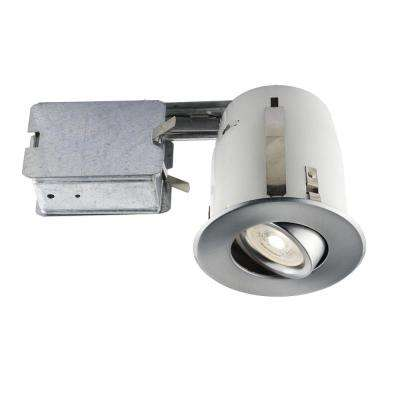 4-in. Brushed Chrome Recessed LED Lighting Kit with GU10 Bulb Included
