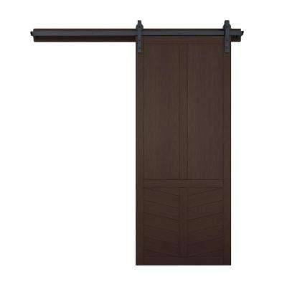 42 in. x 84 in. The Robinhood Sable Wood Barn Door with Sliding Door Hardware Kit