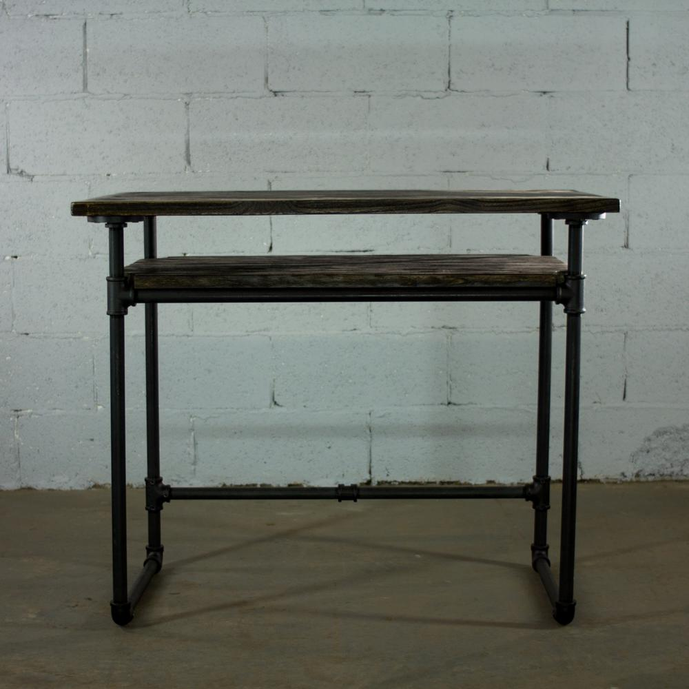 OS Home And Office Furniture Black Steel Industrial Pipe Desk With Lower  Shelf And Reclaimed Aged
