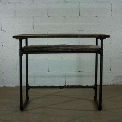Black Steel Industrial Pipe Desk with Lower Shelf and Reclaimed Aged Wood