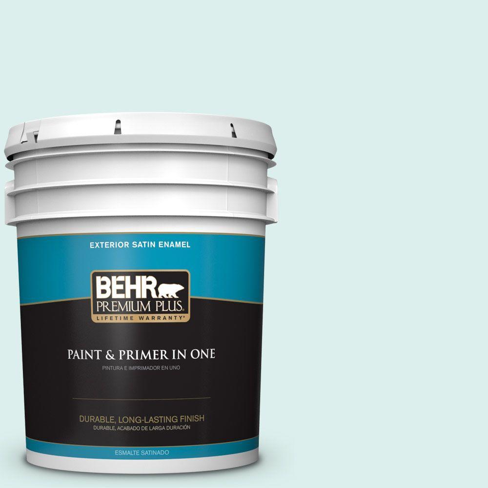 BEHR Premium Plus 5-gal. #490C-1 Ice Cube Satin Enamel Exterior Paint