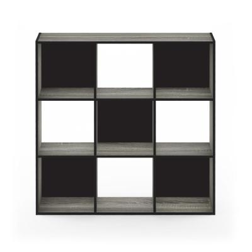 Pelli 35.95 in. French Oak Gray Wood 9-shelf Cube Bookcase with Open Back