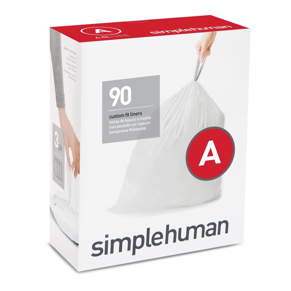 simplehuman 1.2 Gal. Custom Fit Trash Can Liner, Code A (...