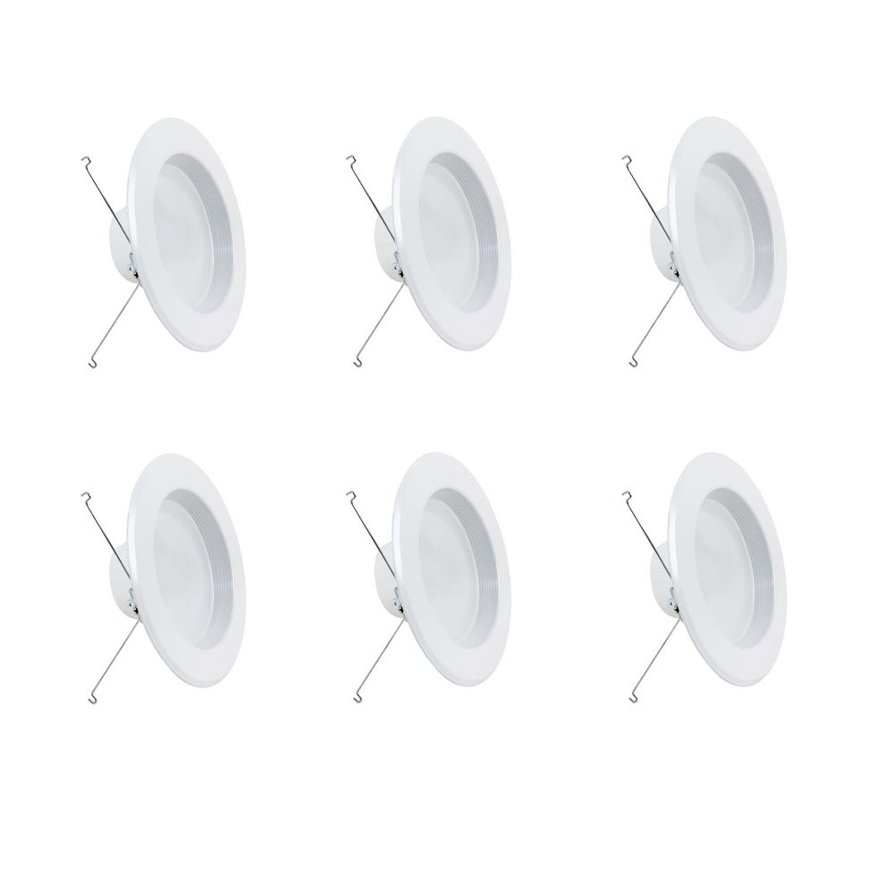 Feit Electric 5 or 6 in. 75W Equivalent Soft White (2700K) Dimmable CEC White Integrated LED Recessed Retrofit Trim Downlight (6-Pack)