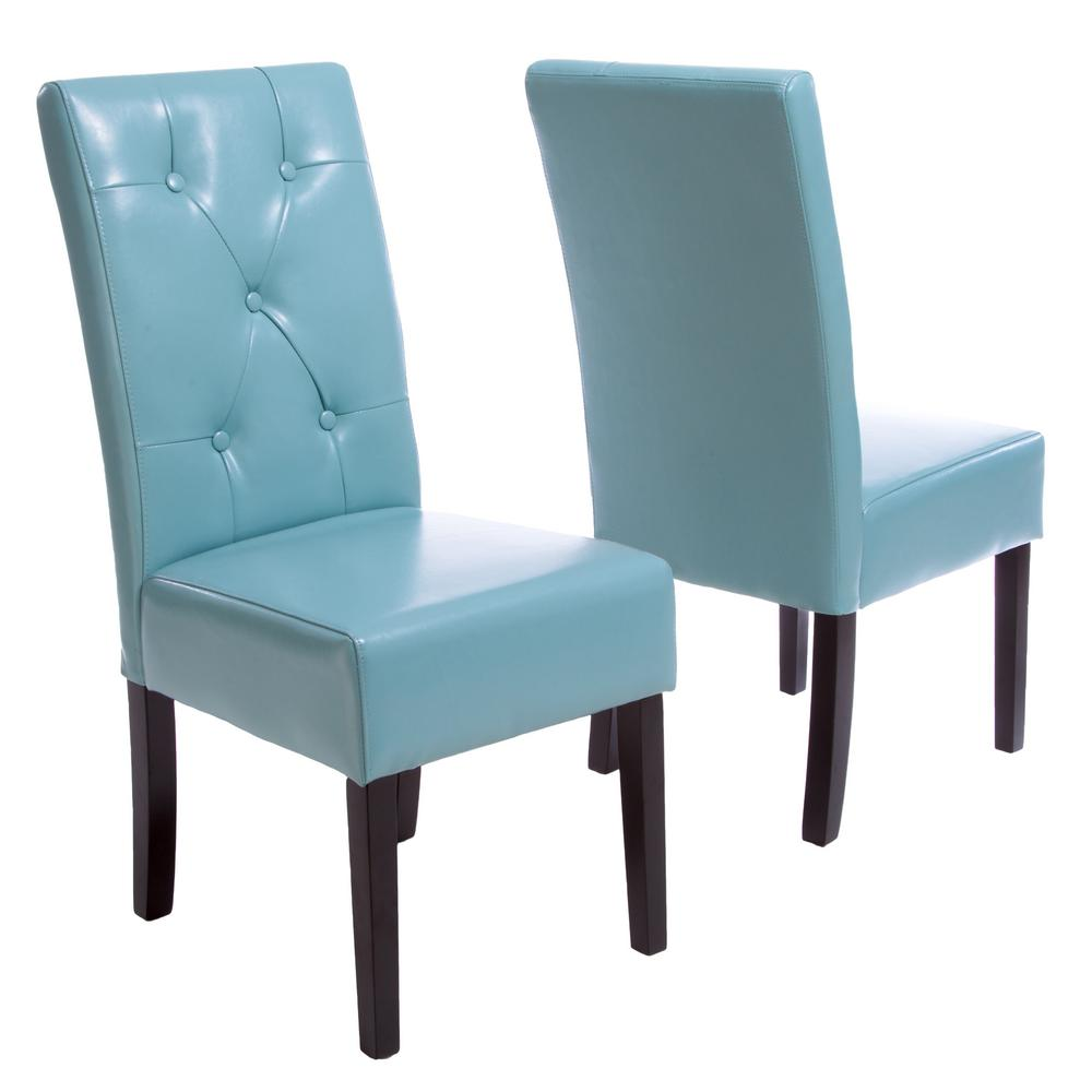 Taylor Teal Blue Bonded Leather Dining Chair (Set of 2)