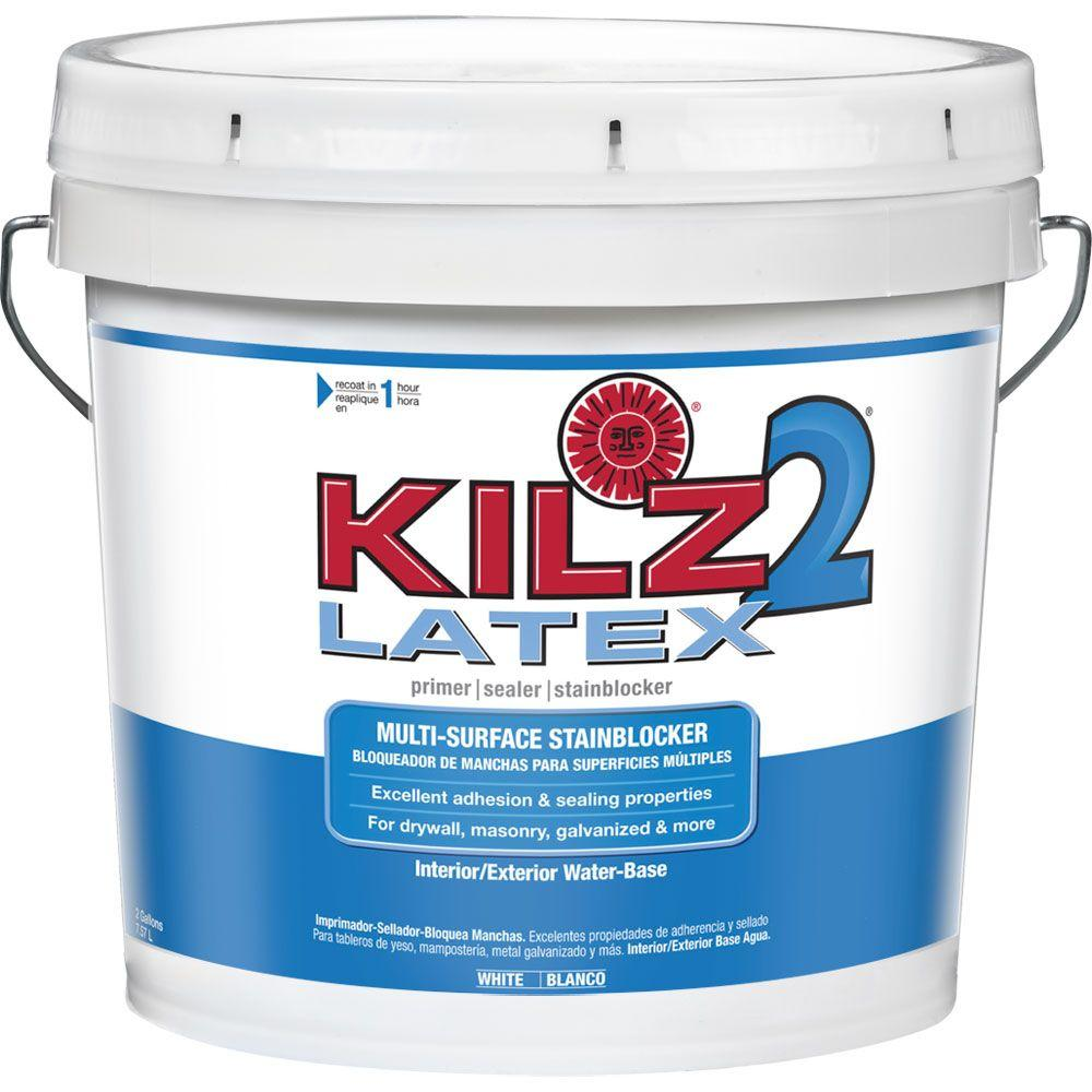 KILZ 2 KILZ 2 LATEX 2 gal. White Interior/Exterior Multi-Surface Primer, Sealer, and Stain Blocker