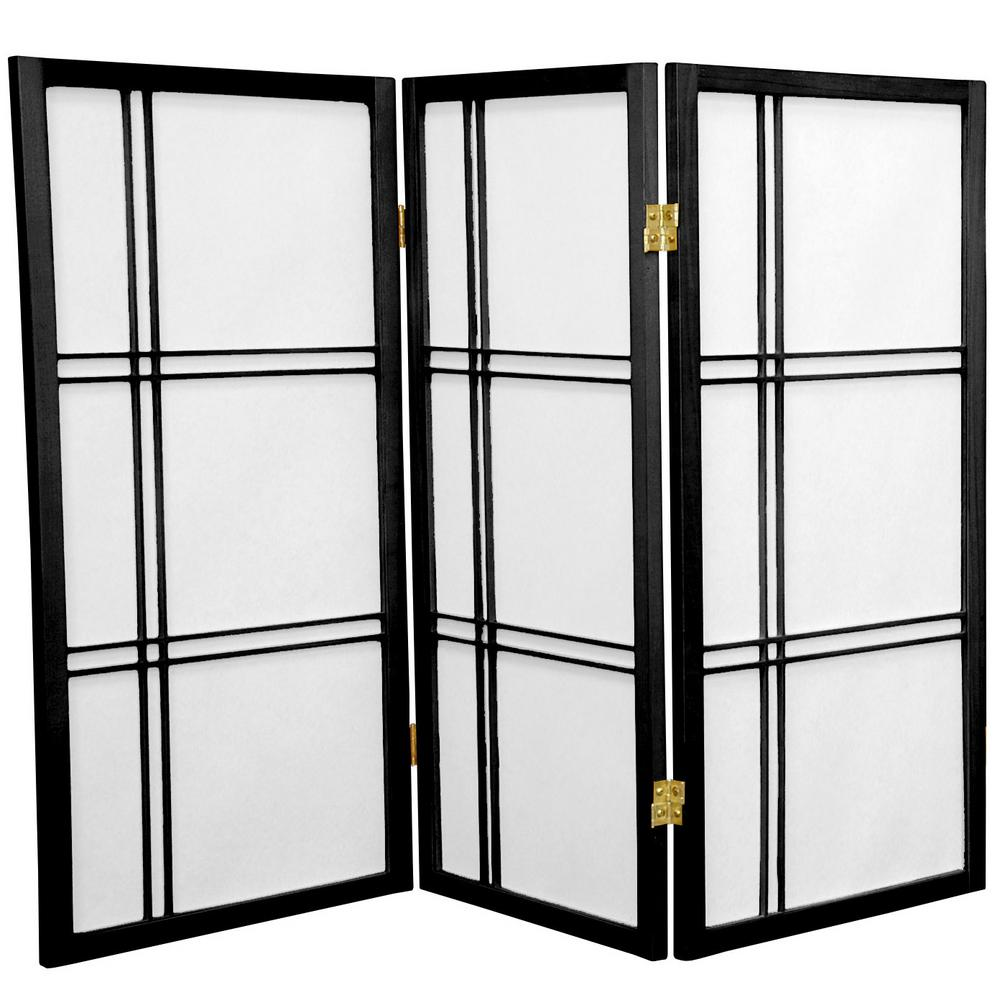 Oriental Furniture 3 Ft Black 3 Panel Room Divider Dc36 Blk 3p