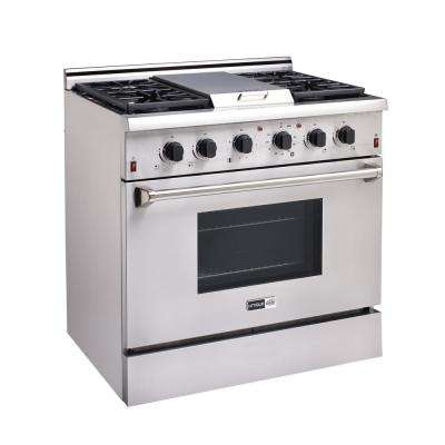 Elite 36 in. 4.5 cu. ft. Gas Range with Sealed Burners, Griddle and Convection Oven in Stainless Steel