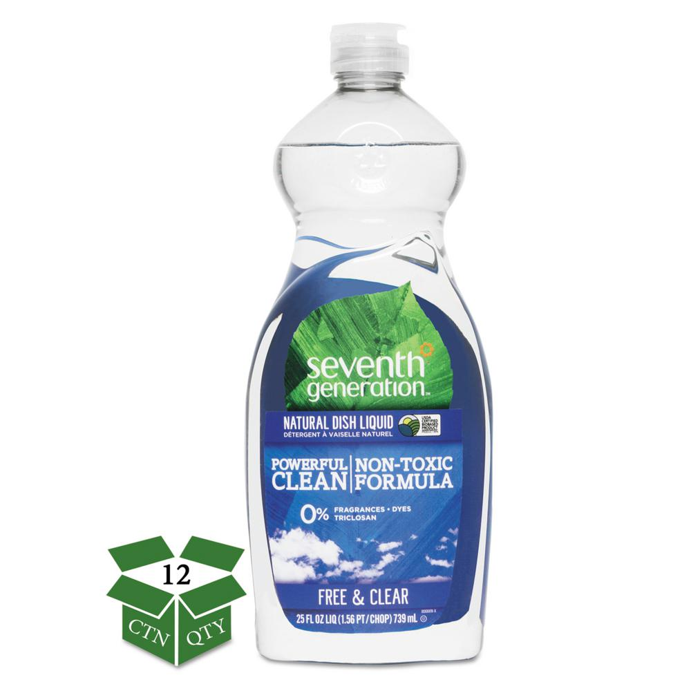 25 oz. Free and Clear Scent Natural Dishwashing Liquid (Case of