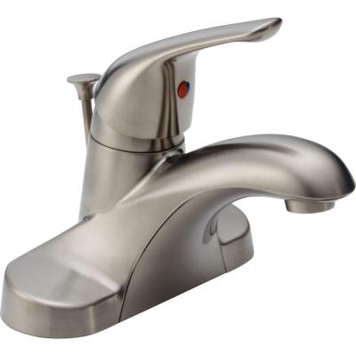 Foundations 4 in. Centerset Single-Handle Bathroom Faucet with Metal Drain Assembly in Stainless