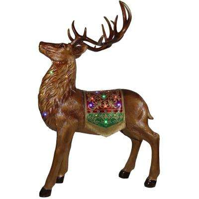 5 ft. Christmas Standing Reindeer with Metallic Finish with Long-Lasting LED Lights