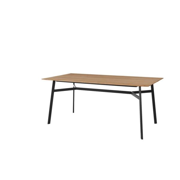 Halford Pecan Brown Finish Rectangular Dining Table for 6 with Black Metal Base (68.9 in. L x 29.92 in. H)