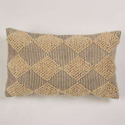 American Colors Handwoven Raised Diamond Grey textured Pillow