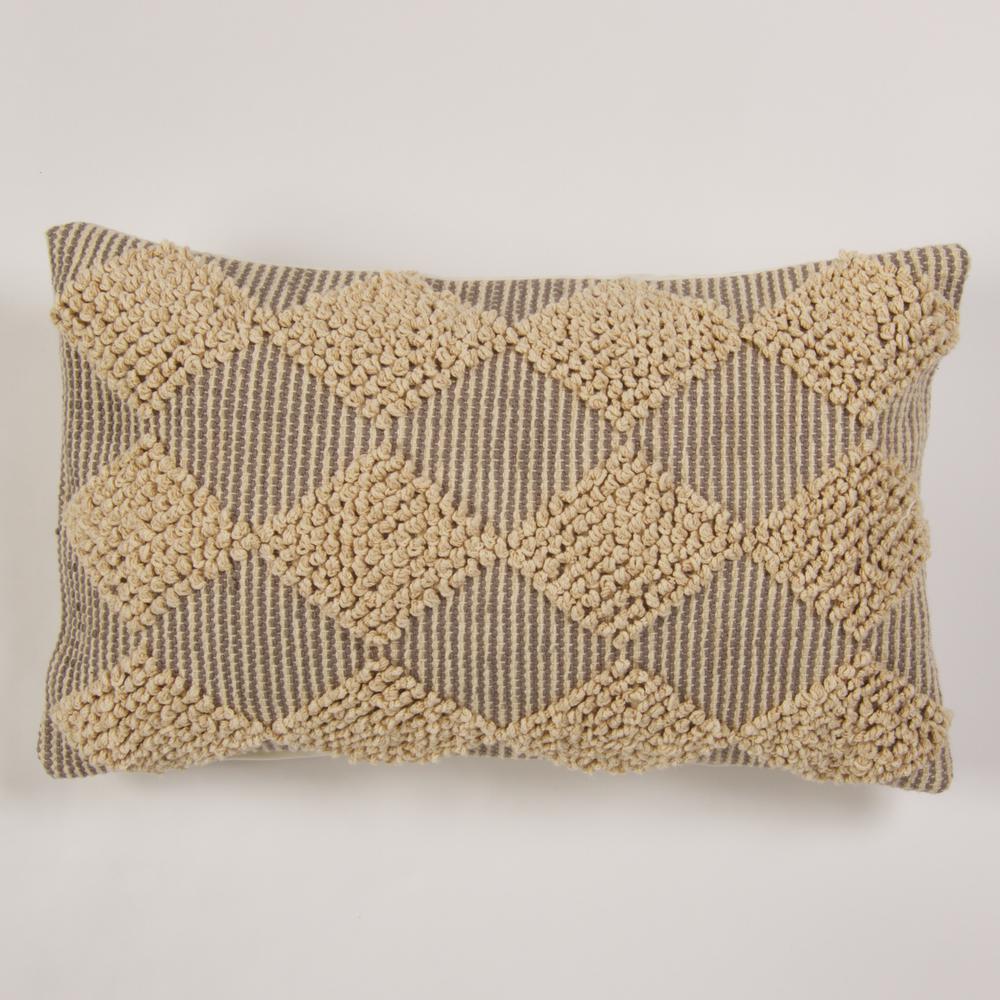 American Colors Handwoven Raised Diamond Grey textured Pillow