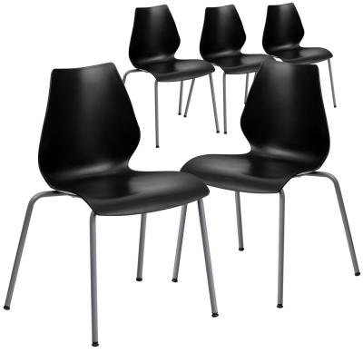 Black Plastic Stack Chairs (Set of 5)