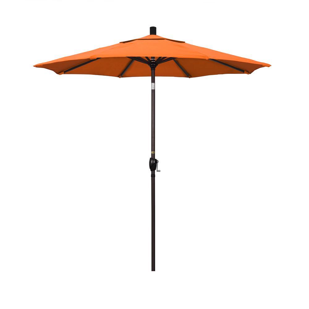 7.5 ft. Bronze Aluminum Push Button Tilt Crank Lift Patio Umbrella in Tangerine Sunbrella