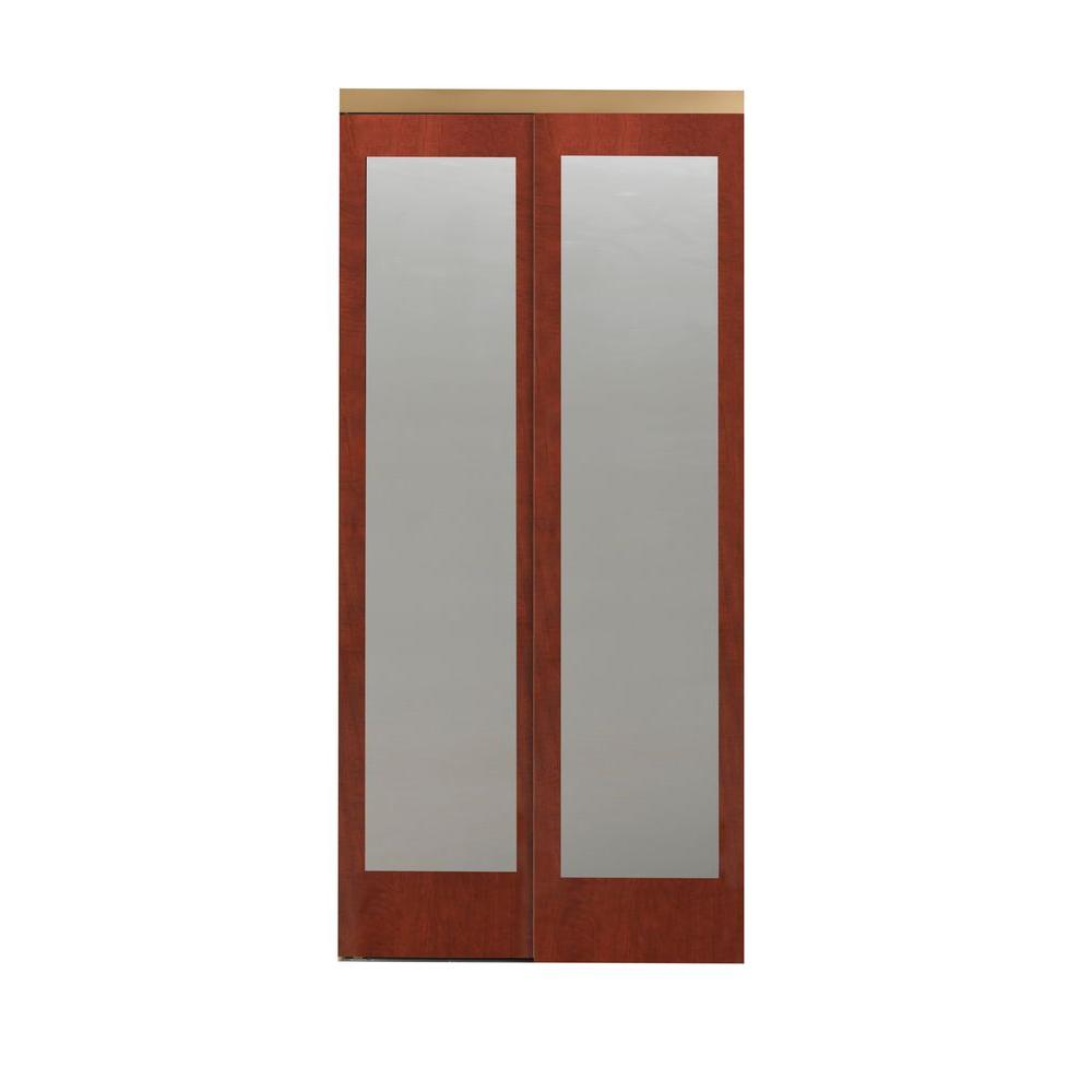 60 in. x 80 in. Mir-Mel Mirror Cherry Solid Core MDF
