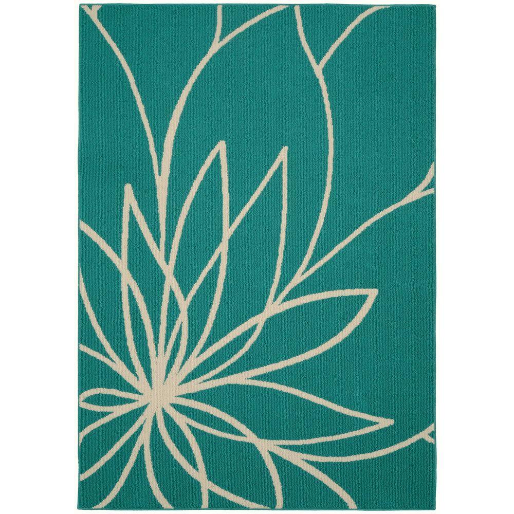 Garland Rug Grand Floral Teal/Ivory 5 Ft. X 7 Ft. Area Rug