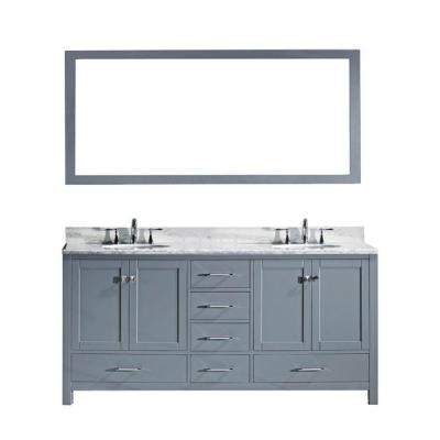 Caroline Avenue 60 in. W Bath Vanity in Gray with Marble Vanity Top in White with Square Basin and Mirror