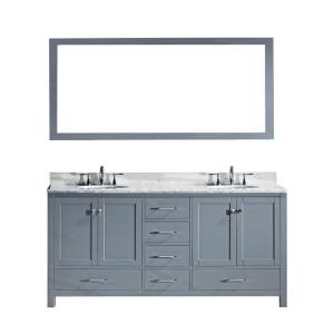 Virtu USA Caroline Avenue 60 inch W x 36 inch H Vanity with Marble Vanity Top in Carrara White with White Square Basin... by Virtu USA