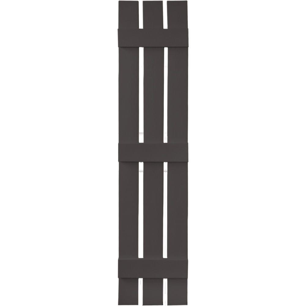 Builders Edge 12 in. x 59 in. Board-N-Batten Shutters Pair, 3 Boards Spaced #018 Tuxedo Grey
