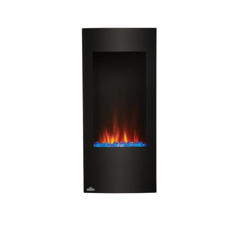NAPOLEON Vertical Wall-Mount Electric Fireplace in Black is a stunning statement piece for any small or large area without the need for venting.