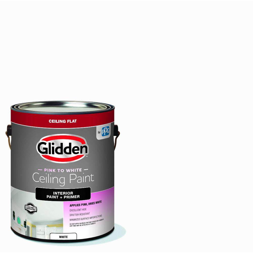 Glidden Premium Ceiling 1 Gal Bright White Interior Flat Ez Track Ceiling Paint Gcn3070 01 The Home Depot