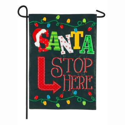 18 in. x 12.5 in. Santa Stop Here Garden Applique Flag