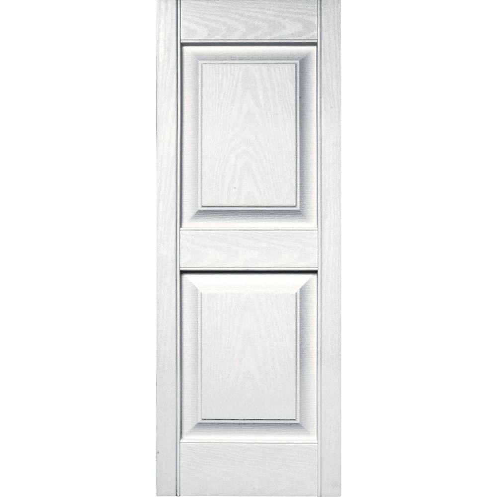 Builders Edge 15 in. x 39 in. Raised Panel Vinyl Exterior Shutters Pair in #117 Bright White
