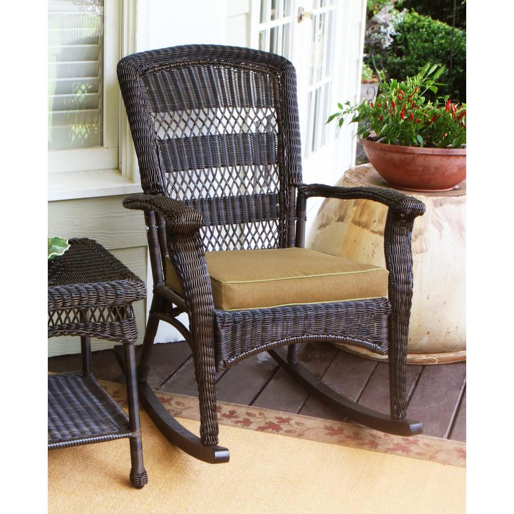Portside Plantation Outdoor Rocking Chair Dark Roast Wicker with Tan Cushion