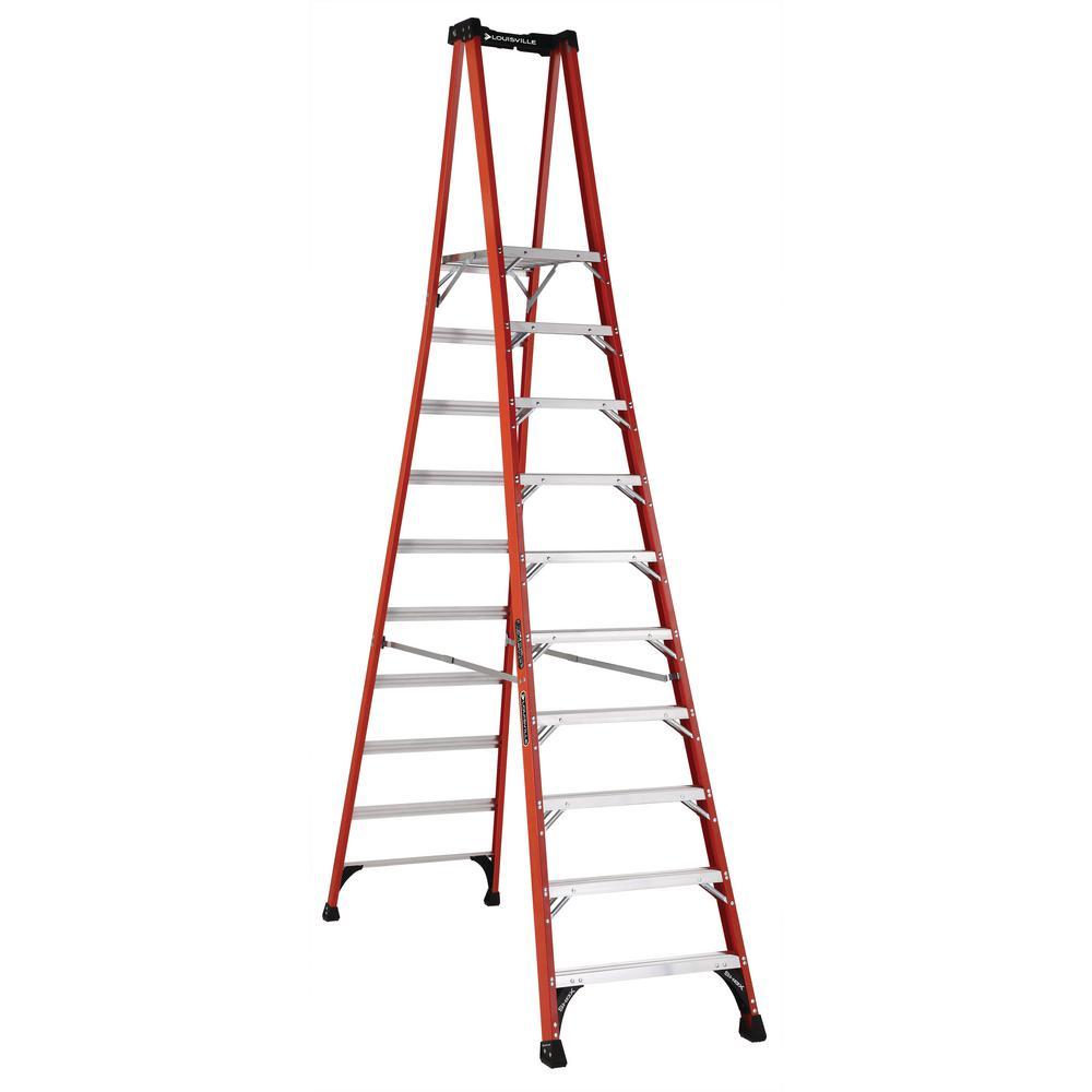 10 ft. Fiberglass Pinnacle PRO Platform Ladder with 375 lbs. Load Capacity Type IAA Duty Rating