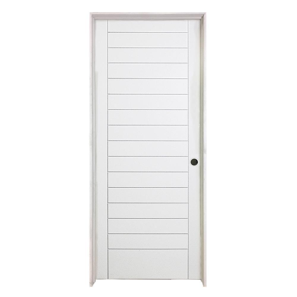 32 in. x 80 in. Stacked Primed White Barn Door Style Solid Core Wood Single Prehung Interior Door