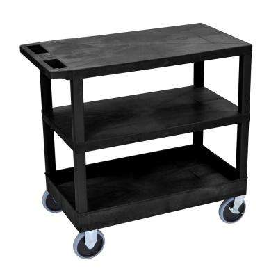 35.25 in. W x 18 in. D x 35.5 in. H 2 Flat and 1 Tub Shelf Utility Cart with 5 in. Casters in Black
