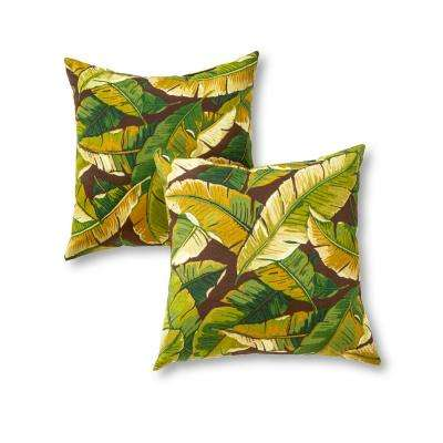 Palm Leaves Green Square Outdoor Throw Pillow (2-Pack)