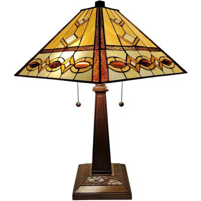 Tiffany 22 in. Brown and Tan Table Lamp with Stained Glass Shade and Banker Base