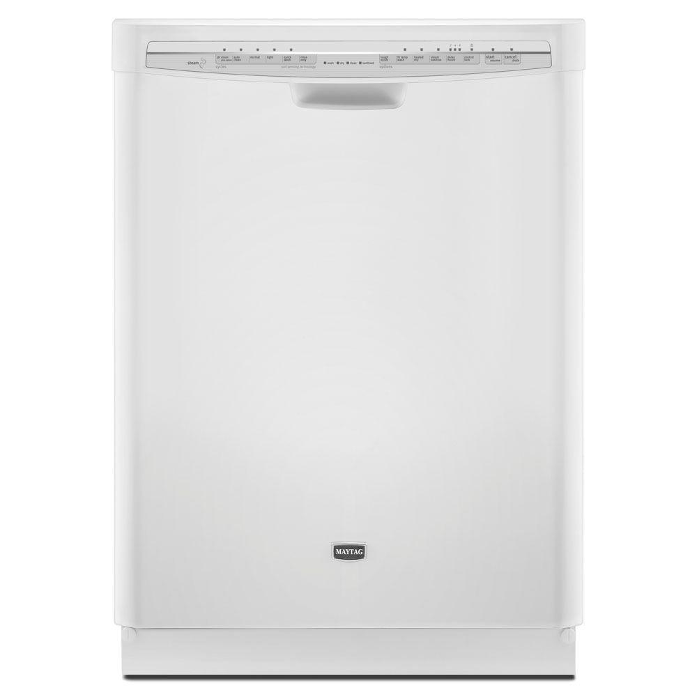 Maytag JetClean Plus Front Control Dishwasher in White with Stainless Steel Tub and Steam Cleaning-DISCONTINUED