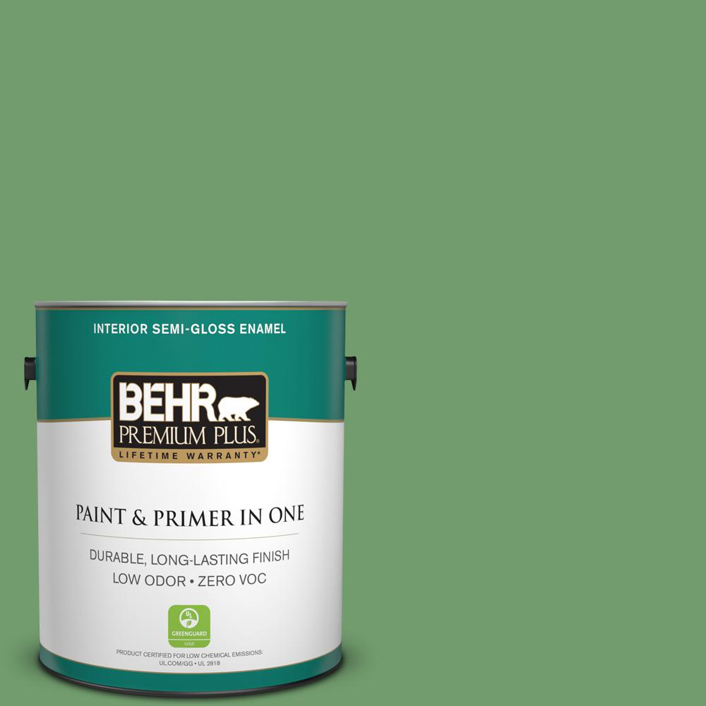 1-gal. #450D-6 Shire Green Zero VOC Semi-Gloss Enamel Interior Paint