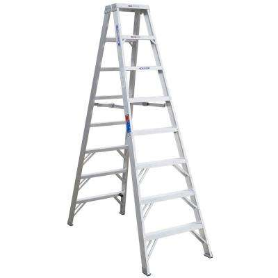 8 ft. Aluminum Twin Step Ladder with 300 lb. Load Capacity Type IA Duty Rating