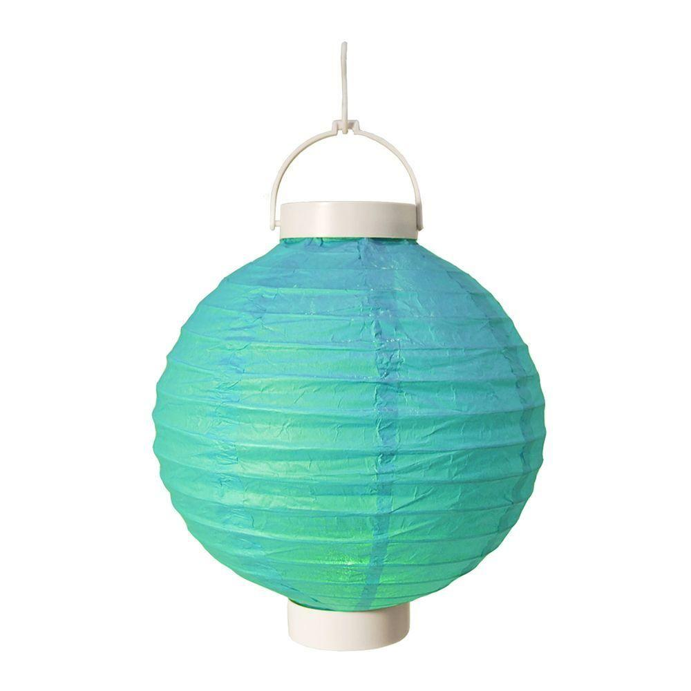 Lumabase Battery Operated Paper Lantern In Turquoise 3 Count 79503