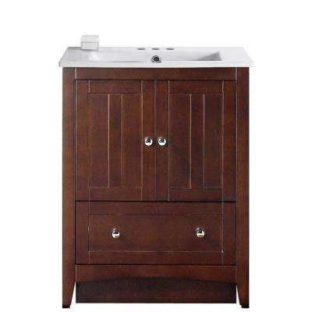 16-Gauge-Sinks 30 in. W x 18.5 in. D Vanity in Walnut with Ceramic Vanity Top in White with White Basin