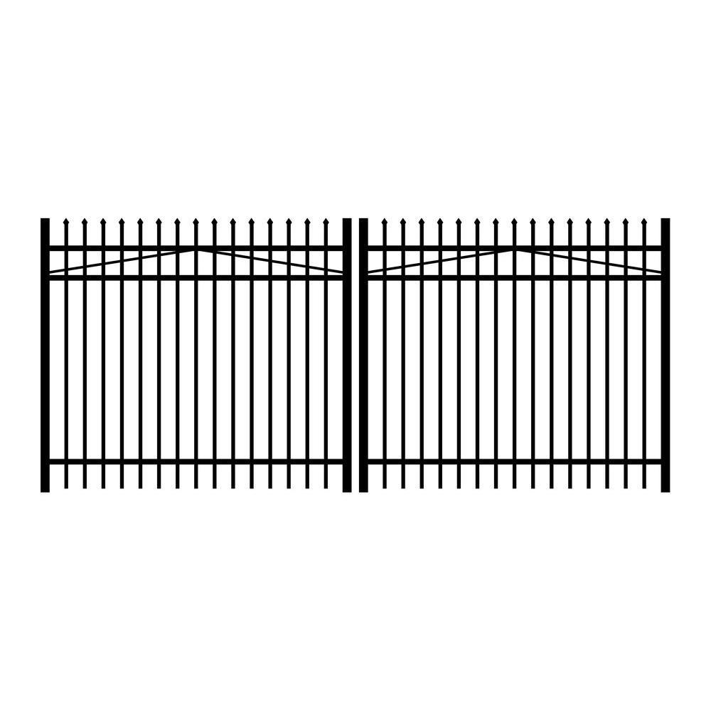Washington 12 ft. W x 4 ft. H Black Aluminum 3-Rail Double Drive Fence Gate
