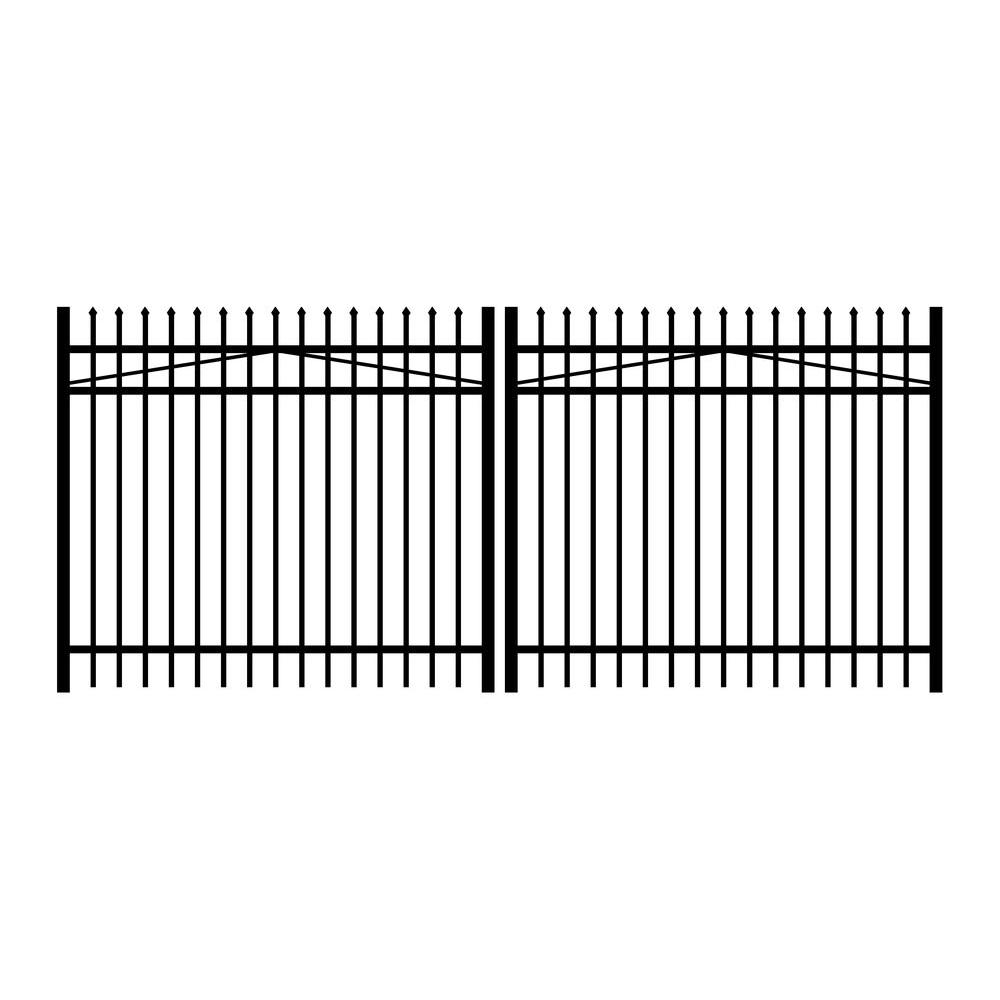Jerith Washington 12 ft. W x 5 ft. H Black Aluminum 3-Rail Double Drive Fence Gate