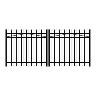 Washington 12 ft. W x 5 ft. H Black Aluminum 3-Rail Double Drive Fence Gate