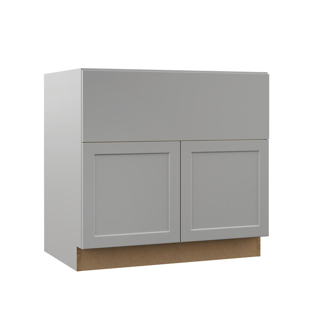 Hampton Bay Designer Series Melvern Assembled 36x34 5x23 75 In Farmhouse Apron Front Sink Base Kitchen Cabinet In Heron Gray Bsa36 Mlgr The Home Depot