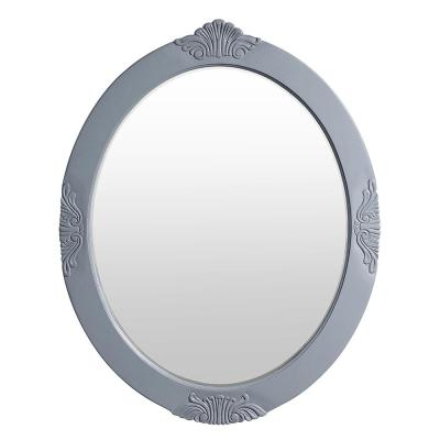 30 in. W x 38 in. H Framed Oval Beveled Edge Bathroom Vanity Mirror in antique gray