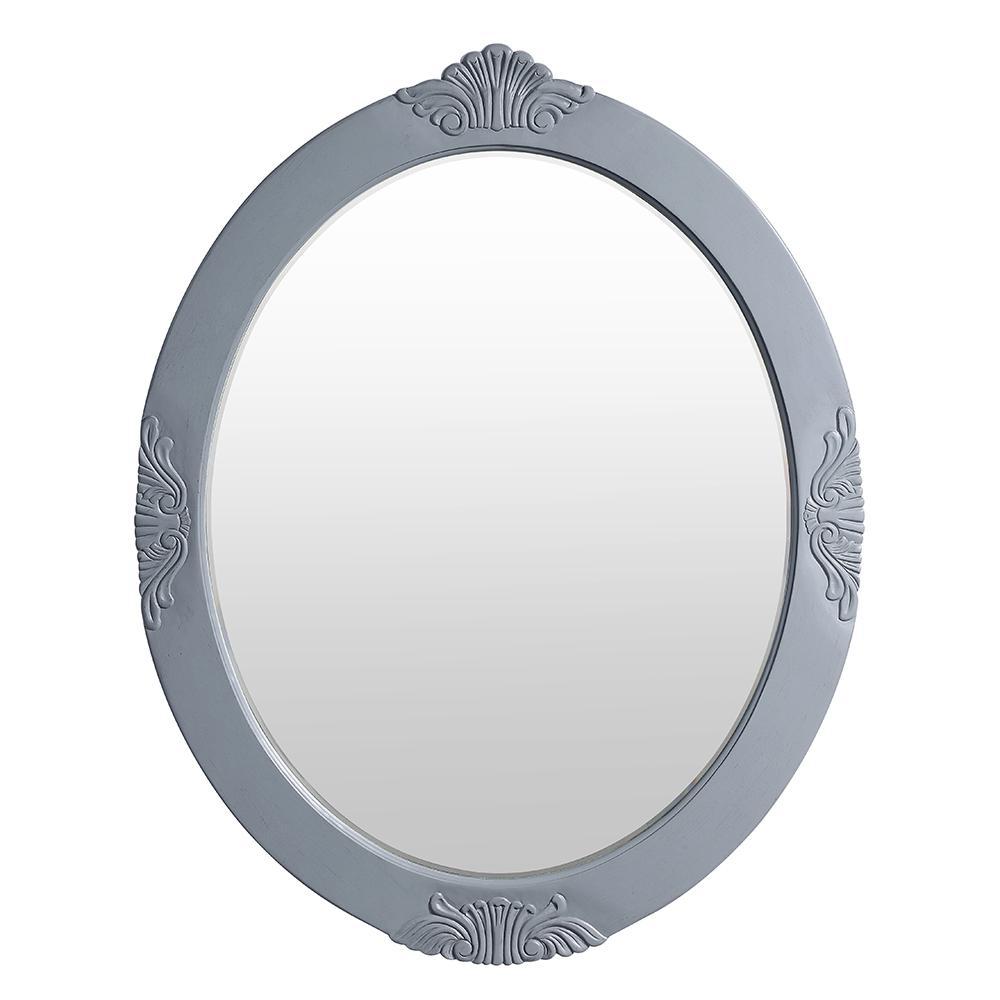 Winslow 30 in. x 38 in. Single Framed Wall Mirror in Antique Gray